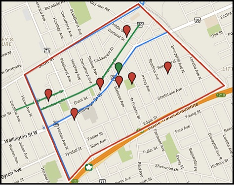 Map of Hintonburg. Stephanie Elliott via Mapsengine.com