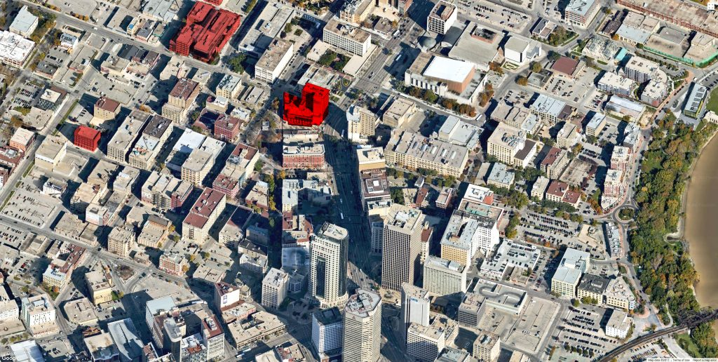 The Exchange District (modified from Google Maps)